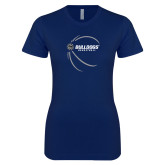 Next Level Ladies SoftStyle Junior Fitted Navy Tee-Basketball Side View Design