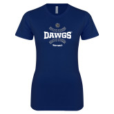 Next Level Ladies SoftStyle Junior Fitted Navy Tee-Softball Seams Design