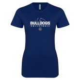 Next Level Ladies SoftStyle Junior Fitted Navy Tee-Volleyball Half Ball Design