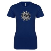 Next Level Ladies SoftStyle Junior Fitted Navy Tee-Bulldog Head