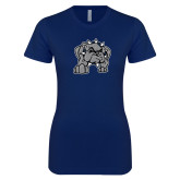 Next Level Ladies SoftStyle Junior Fitted Navy Tee-Bulldog