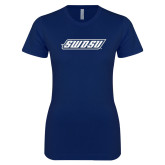 Next Level Ladies SoftStyle Junior Fitted Navy Tee-SWOSU
