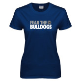 Ladies Navy T Shirt-Fear the Bulldogs