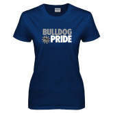 Ladies Navy T Shirt-Bulldog Pride
