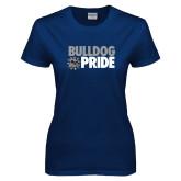 Ladies Navy T Shirt-Bulldog Pride