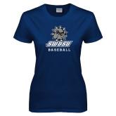 Ladies Navy T Shirt-Baseball