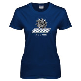 Ladies Navy T Shirt-Alumni