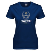 Ladies Navy T Shirt-Football Helmet Design