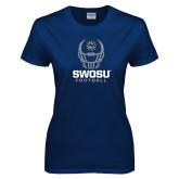 Ladies Navy T Shirt-Football Helmet Design