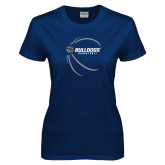 Ladies Navy T Shirt-Basketball Side View Design