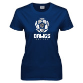 Ladies Navy T Shirt-Soccer Ball Design