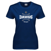 Ladies Navy T Shirt-Softball Seams Design