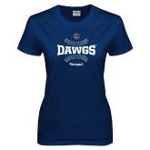 Ladies Navy T Shirt-Softball Seams Design