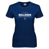 Ladies Navy T Shirt-Volleyball Half Ball Design