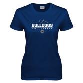 Ladies Navy T Shirt-Volleyball Half Ball Design