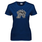 Ladies Navy T Shirt-Bulldog