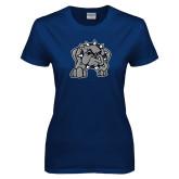 Ladies Navy T Shirt-Bulldog