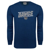 Navy Long Sleeve T Shirt-Dawgs Fancy Lines