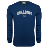 Navy Long Sleeve T Shirt-Arched Bulldogs