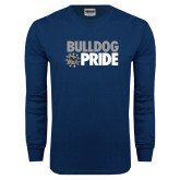 Navy Long Sleeve T Shirt-Bulldog Pride