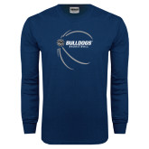 Navy Long Sleeve T Shirt-Basketball Side View Design