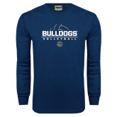 Navy Long Sleeve T Shirt-Volleyball Half Ball Design