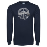 Navy Long Sleeve T Shirt-Womens Basketball GAC Conference Champions