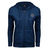 ENZA Ladies Navy Fleece Full Zip Hoodie-Bulldog Head