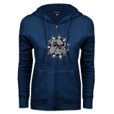 ENZA Ladies Navy Fleece Full Zip Hoodie-Bulldog Head