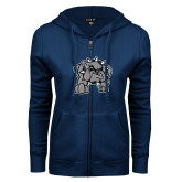 ENZA Ladies Navy Fleece Full Zip Hoodie-Bulldog