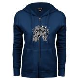 ENZA Ladies Navy Fleece Full Zip Hoodie-Bulldog