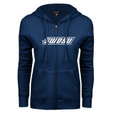 ENZA Ladies Navy Fleece Full Zip Hoodie-SWOSU