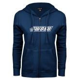 ENZA Ladies Navy Fleece Full Zip Hoodie-SWOSU