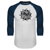 White/Navy Raglan Baseball T Shirt-Bulldog Head