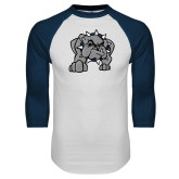 White/Navy Raglan Baseball T Shirt-Bulldog