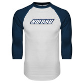 White/Navy Raglan Baseball T Shirt-SWOSU