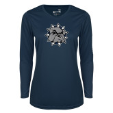 Ladies Syntrel Performance Navy Longsleeve Shirt-Bulldog Head