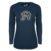 Ladies Syntrel Performance Navy Longsleeve Shirt-Bulldog