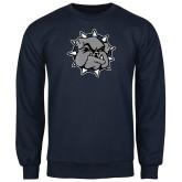 Navy Fleece Crew-Bulldog Head