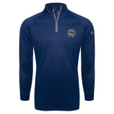 Under Armour Navy Tech 1/4 Zip Performance Shirt-Bulldog Head