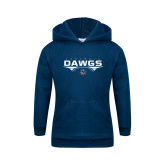 Youth Navy Fleece Hoodie-Abstract Football Design