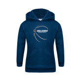 Youth Navy Fleece Hoodie-Basketball Side View Design