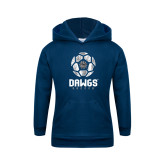 Youth Navy Fleece Hoodie-Soccer Ball Design