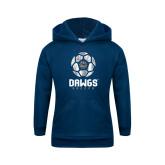 Youth Navy Fleece Hoodie-Soccer Ball Design