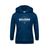 Youth Navy Fleece Hoodie-Volleyball Half Ball Design