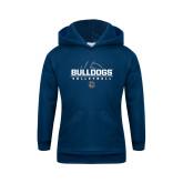 Youth Navy Fleece Hoodie-Volleyball Half Ball Design