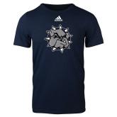Adidas Navy Logo T Shirt-Bulldog Head