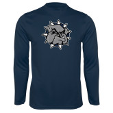 Performance Navy Longsleeve Shirt-Bulldog Head