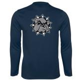 Syntrel Performance Navy Longsleeve Shirt-Bulldog Head