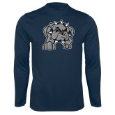 Performance Navy Longsleeve Shirt-Bulldog